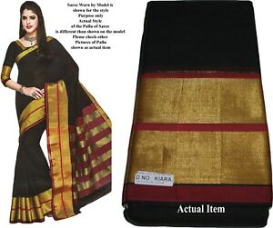 100% Coton Ethnique Indien Du Sud Handloom Saree Sari Noir Avec Bordure En Or 1689-afficher Le Titre D'origine Pour ExpéDition Rapide