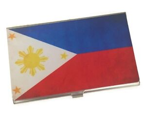 Personalized Metal Business Card Holder with Philipines Flag