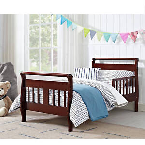 Details about Toddler Bed Sleigh Cherry Solid Hardwood Rail Contemporary  Kids Bedroom