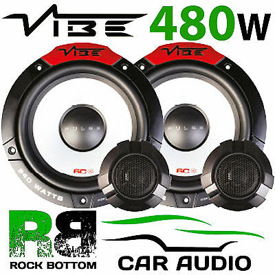 Vibe Audio Pulse Series 6C Car 6.5 inch 240w 2-Way Car Door Component Speakers Tweeters System Set