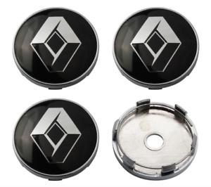 Schwarz-4-x-60mm-Renault-Chrome-Alufelge-Nabenkappen-Nabendeckel-Satz