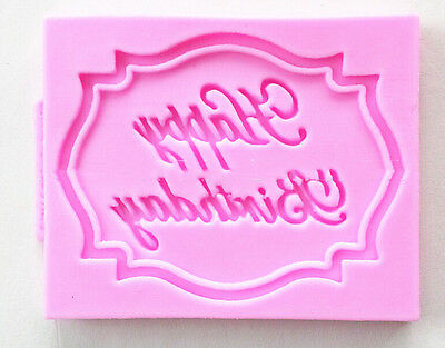Happy Birthday Silicone Mould Cake Decorating Lace Impression Mat Baking Mold HI