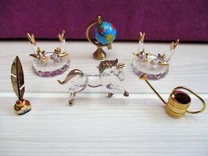 lot-miniatures-Cheval-mappemonde-plumier-en-verres-et-metal-lourd-pour-vitrine