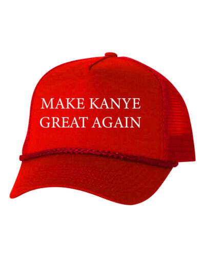 Make Kanye Great Again Yeezus Yeezy Custom Trucker Hat Adjustable Cap-Red//Red