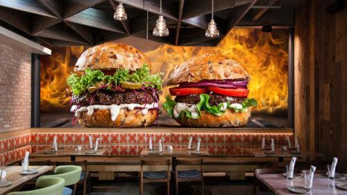Fuego parrilla hamburguesa de carne alimentos Wallpaper Mural Restaurante Cocina Póster Decoración