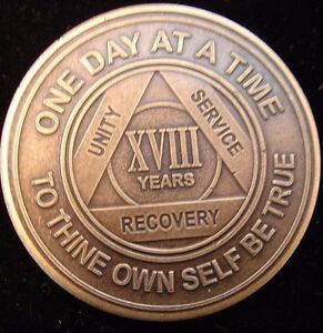 Alcoholics Anonymous AA 18 Year Bronze Medallion Token Coin Chip Sobriety Sober