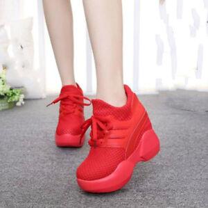 3f4469e3724c03 Women s High-top Heels Platform Casual Canvas Sneakers Hidden Heel ...