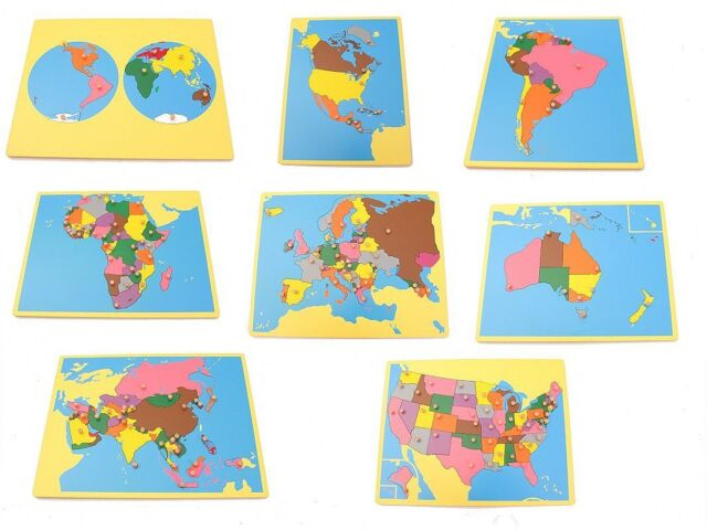 Montessori Geography Material-  Small Board Map Set 1 (Set of 8 maps) with USA