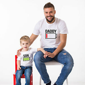ca4848c8a8 Image is loading Battery-Power-Shirts-Father-Son-Matching-T-Shirts-