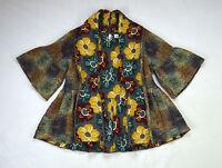 Moth Anthropologie L Impressionist Sweater Jacket Reversible Merino Wool Floral