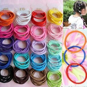 Lot100pcs-Cheveux-Bande-Couleur-Mixte-Fille-Enfant-Elastique-Queue-de-cheval