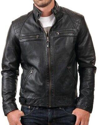 Noir Veste blouson homme cuir motard S M L XL 2XL nouvelle