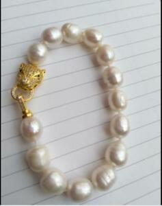 huge 11-13mm Australian AAA south sea white baroque pearl necklace 18 inch 14K