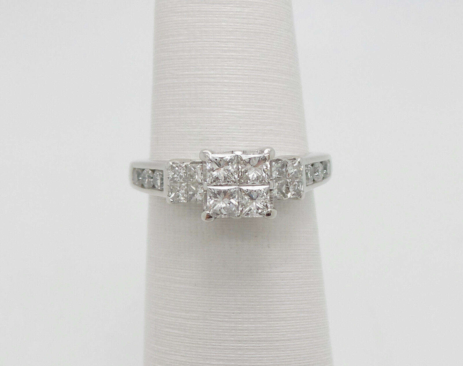 28739d9803555 1CT Princess Cut Quad Diamond Engagement Wedding Ring White gold 14K ...