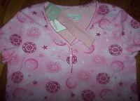 Karen Neuburger Encore Pink Suns Moons Stars Nightgown/headband Set S