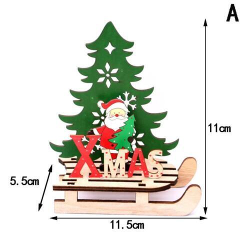 DIY Wood EIK Sled Snowman Ornaments Merry Christmas Home Decor Xams Tree