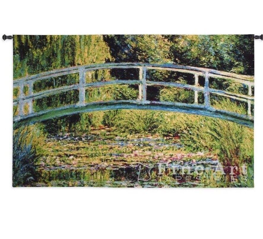 NEW LePont Japonais Woven Art Tapestry Wall Hanging Bridge Outdoor Scene