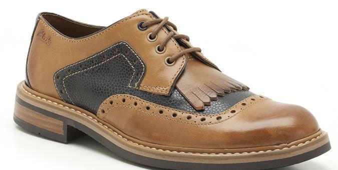 New Clarks  Uomo   X DARBY BROGUE DESERT  TAN COMBI BROGUE DARBY Leathr  UK 11 / 10.5 103510