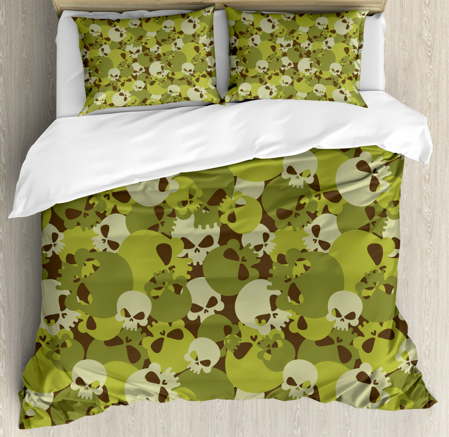 Skull Duvet Cover Set with Pillow Shams Scary Concept Design Print