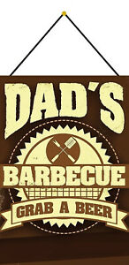 Dad-039-s-Barbecue-Beer-Tin-Sign-Shield-with-Cord-Tin-Sign-7-7-8x11-13-16in-FA0307-K
