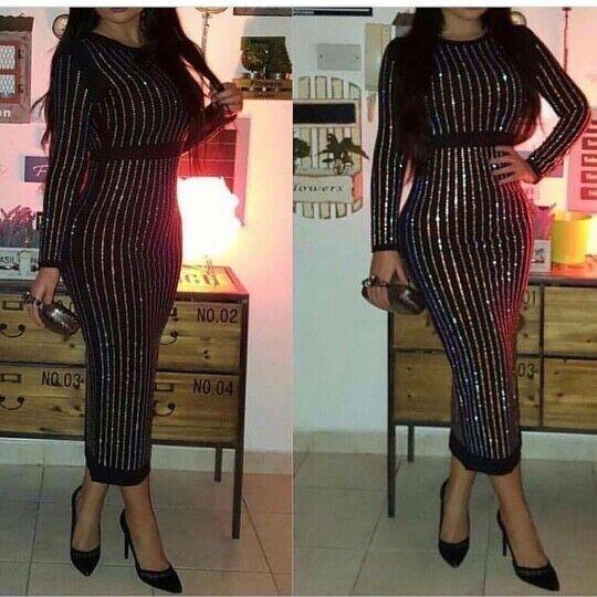 Embellished Women's Long Sleeve Designer DressRhinestone Diamonds  Bodycon Dress