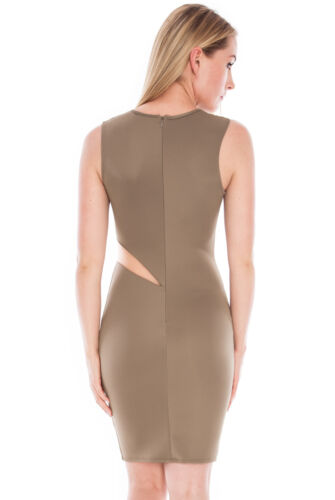 Womens Wavy Mesh Insert Scuba Mocha//Brown Dress Size 8,12,14 By City Goddess