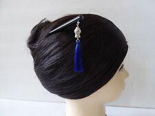 Japanese Kanzashi Hair Stick With Royal Blue Tassel Design Kumi Hair Ornament