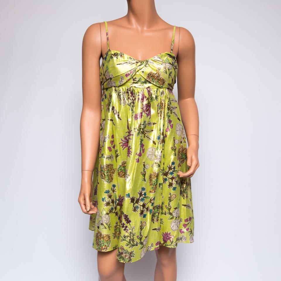 La Rok Multi-color Green Floral Silk Dress  300 XS