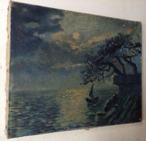 Tableau-Ancien-Impressionniste-Marine-effet-de-Nuit-Huile-sur-toile-signee