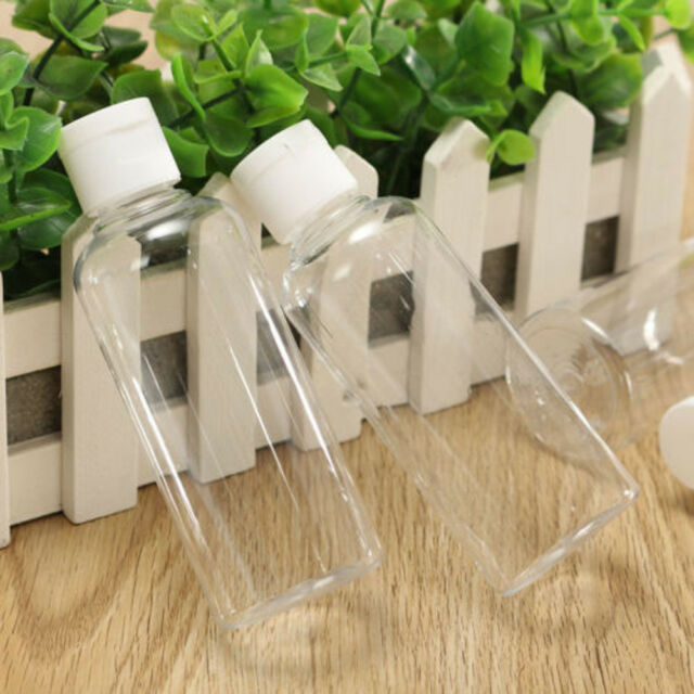 1497e9cc9244 4x 100ml Plastic Clear Bottle Travel Lotion Liquid Shampoo Makeup Container  KL