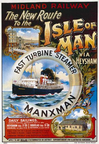 """Ts60 Vintage Isla de Man Midland Railway cartel impresión A3 17 /""""x12/"""""""