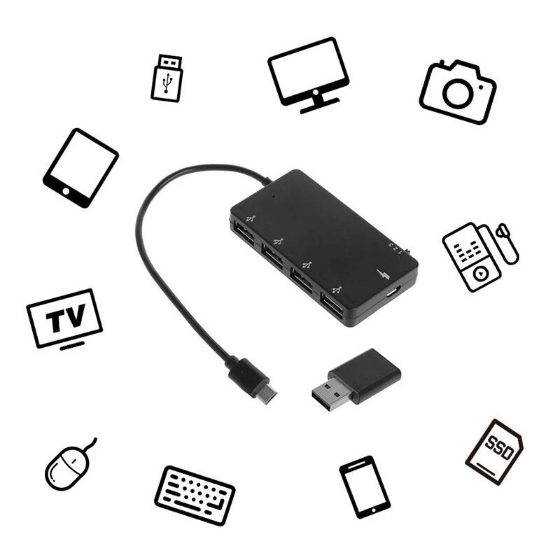 Micro Usb Otg 4 Port Hub Power Charging Adapter Cable For Samsung