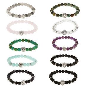 Fashion-Natural-Gemstone-Stone-Beaded-Bracelet-Silver-Buddha-Lion-Charm-Bracelet