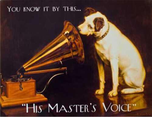 La voix de son maître Rétro Style Vintage Métal Plaque Murale Signe