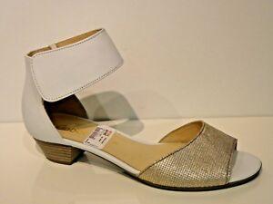 46eeecc85db22a Das Bild wird geladen Gabor-Schuhe-Sandalen-Sandaletten-Riemchen-Farbe-gold -weiss-