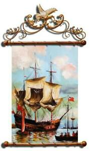 Painting-Oil-Picture-Frame-Sea-Ships-03191