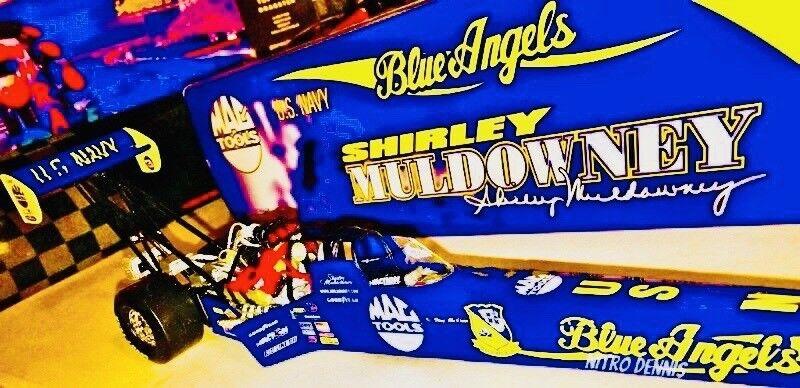 "NHRA Shirley Muldowney 1 24 Diecast blu ANGELS Top Fuel Dragster NITRO ""Rare"""