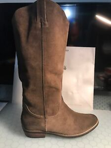 KELSI-DAGGER-Frisco-Cow-Suede-Distressed-Western-Inspired-Brown-Boot-Sz-10