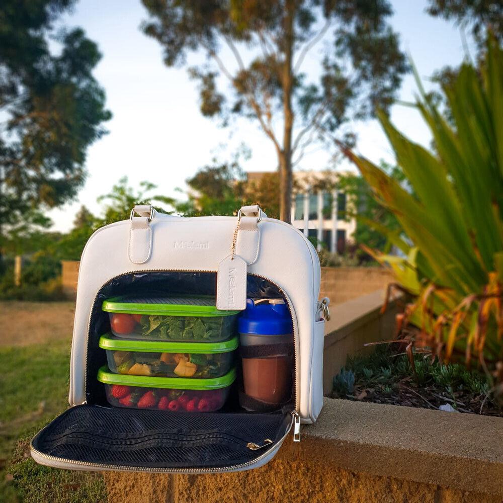 Mealami White Mini Meal Prep Handbag   Meal Management Bag Travel Gym