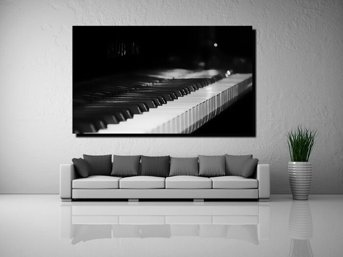 LEINWAND BILD ER XXL POP ART PIANO KLAVIER TASTATUR MUSIK ABSTRAKT S W - 150x90