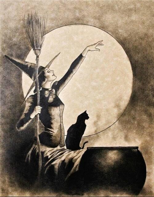 Come In Dearie Witch Pumpkin Bat Graves Moon Face Black Cat  Halloween  print