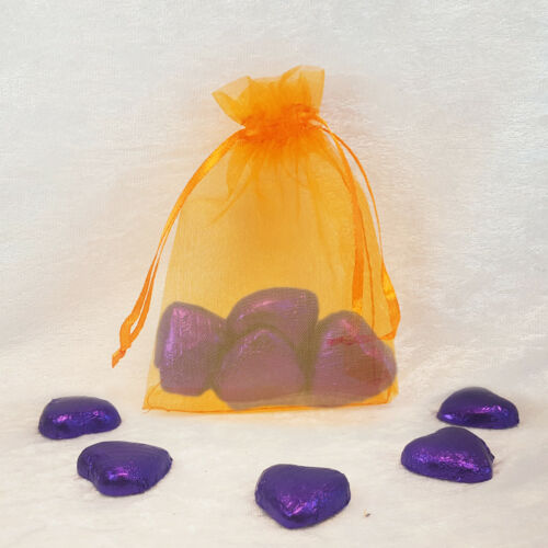 4 Purple Foiled Heart Chocolates in Organza Bags Ready Made Wedding Party Favour