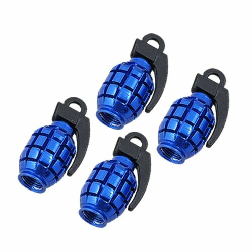 4 bleu grenade bombe insérer valve capuchons anti-poussière pour tout véhicule