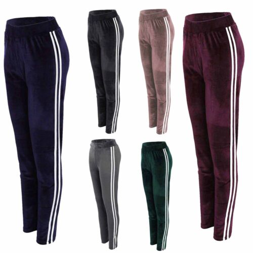 Damen Yoga Velour Bein Hosen Active Thermo Hosen Gestreift Sport Hose