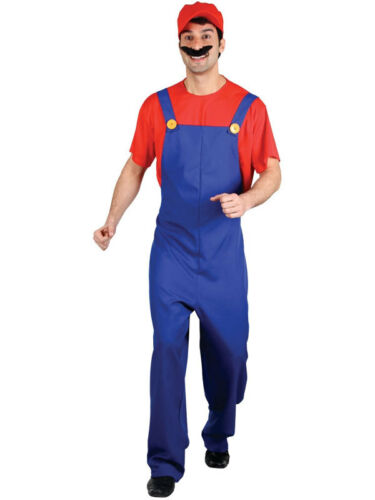 Men Adult Super Mario Bros Fancy Plumber Costume World Book Day Halloween Funny