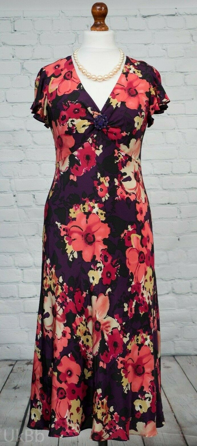 Country Casuals Long Pink Purple Floral Dress Mother Wedding Removable Brooch 14