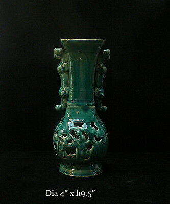 Chinese Thin Ceramic Green Glaze Motif Vase cs294E