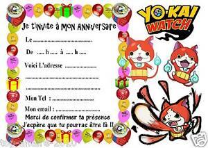 Carte Anniversaire Yokai.Details Sur 5 Cartes Invitations Anniversaire Yokai Watch 03