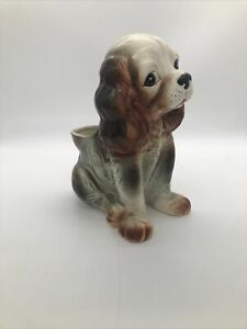 Vintage cocker spaniel relpo ym-1139 ceramic planter