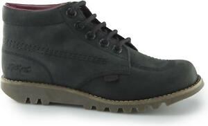 Kickers-KICK-HI-C-Ladies-Womens-Nubuck-Leather-Casual-Lace-Up-Ankle-Boots-Black